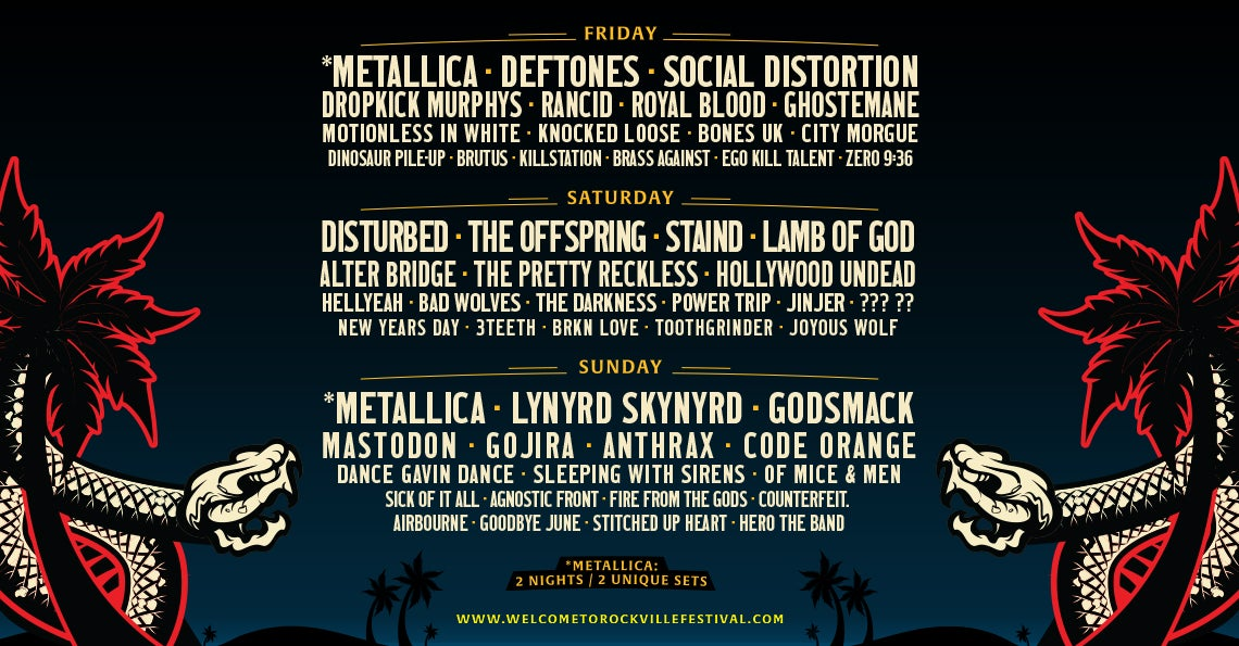 Welcome to Rockville announces 2020 lineup: Metallica, Deftones, Lynyrd Skynrd and more